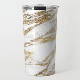 Chic Elegant White and Gold Marble Pattern Travel Mug
