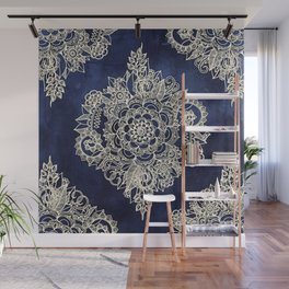 Cream Floral Moroccan Pattern on Deep Indigo Ink Wall Mural