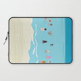 Stoked - memphis throwback retro neon pop art illustration socal cali beach surfing swimming sea Laptop Sleeve