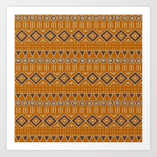 Mudcloth Style 2 in Burnt Orange and Brown by fischerfinearts