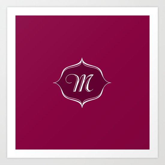M Monogram Burgundy Art Print