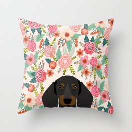 Dachshund floral dog head cute doxie must have pure breed weener dog gifts Throw Pillow