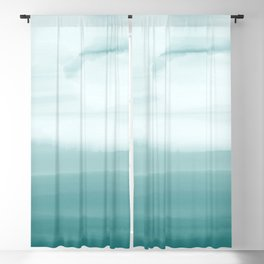 Ocean Sky // Surf Waves Teal Blue Green Water Clouds Watercolor Painting Beach Bathroom Decor Blackout Curtain