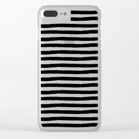 Black And White Hand Drawn Horizontal Stripes Clear iPhone Case