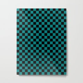 Black and Teal Green Checkerboard Metal Print