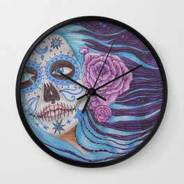 Midnight Lady in Blue Wall Clock