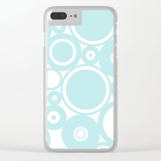 Blue dots and circles - abstract patterns - aqua Clear iPhone Case