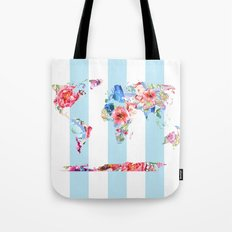 Floral World Stripe Tote Bag