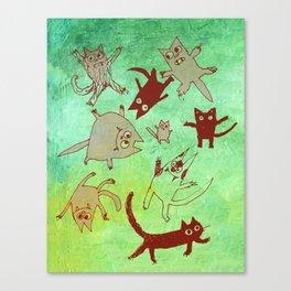 levitating kitties Canvas Print