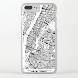 New York City Neutral Map Art Print Clear iPhone Case