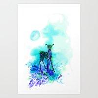 bambi Art Prints featuring bambi by anneamanda