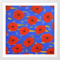 poppies Art Prints featuring POPPIES by Teresa Chipperfield Studios