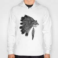headdress Hoodies featuring Native Headdress by Caleb Swenson