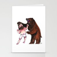 wrestling Stationery Cards featuring Bear Wrestling by Aude Lising