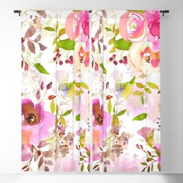 Pink Watercolor Spring Florals Blackout Curtain