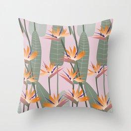 Bird of Paradise - pink Throw Pillow