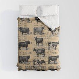 Vintage 1896 Cows Study on Antique Lancaster County Almanac Comforters
