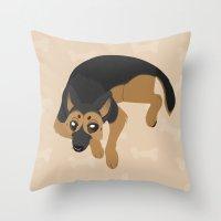 german Throw Pillows featuring German Shepherd by Sarah