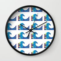 hokusai Wall Clocks featuring Hokusai Rainbow_Bs by FACTORIE