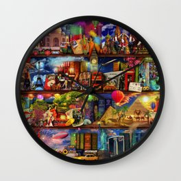 World Travel Book Shelf Wall Clock