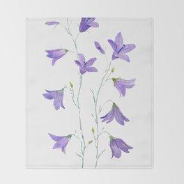 purple wildflower harebell watercolor Throw Blanket
