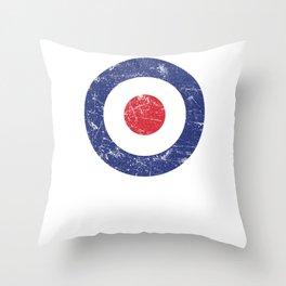 Roundel British Plane Target Distressed & Worn MOD 60s Britain Throw Pillow