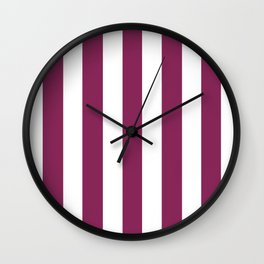 Dark raspberry violet - solid color - white vertical lines pattern Wall Clock