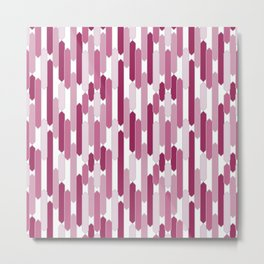 Modern Tabs in Rosy Pinks on White Metal Print
