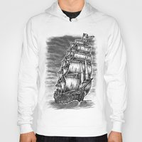 pirate ship Hoodies featuring Caleuche Ghost Pirate Ship by Roberto Jaras Lira