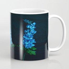 Blue Flowers on Black Coffee Mug