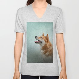 Drawing Japanese Shiba Inu dog 2 Unisex V-Neck