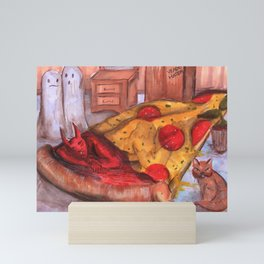 devil in pizza Mini Art Print