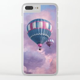 Blue, Pink, and Purple Hot Air Balloons on Pastel Clouds Clear iPhone Case