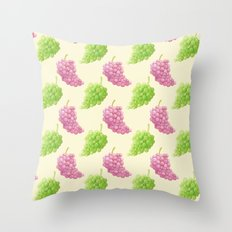 Green & Red Grapes Pattern Remix Throw Pillow