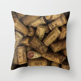 Vintage Wine Bottle Corks Throw Pillow