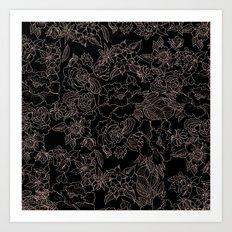 Pink coral tan black floral illustration pattern Art Print