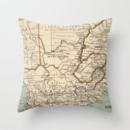 Vintage Map of South Africa (1889) Throw Pillow