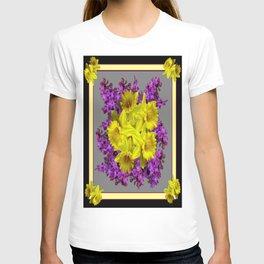 Decorative Purple Daffodil  Floral Black-Grey Art T-shirt
