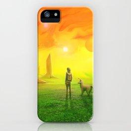 Contemplating an orange world iPhone Case