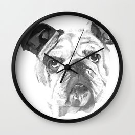 Portrait Of An American Bulldog In Black and White Wall Clock