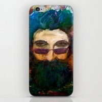 grateful dead iPhone & iPod Skins featuring Jerry Garcia Watercolor Portrait Grateful Dead by Acorn