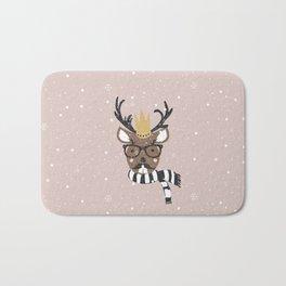 Holiday Deer Illustration Bath Mat