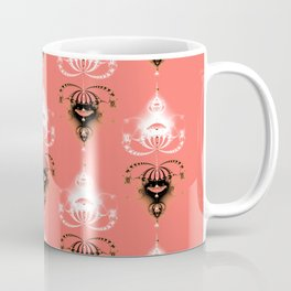 Ornament medallions - Black and white fractals on living coral color Coffee Mug