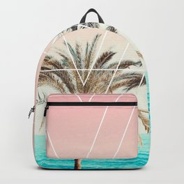 Modern tropical palm tree sunset pink blue beach photography white geometric triangles Backpack