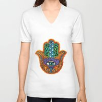 hamsa V-neck T-shirts featuring Hamsa  by Fortissimo6