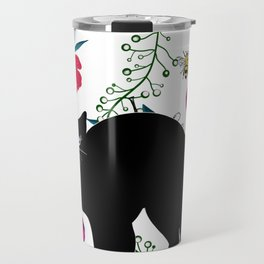 Black cat tshirt.Time spent with cat is never wasted  Travel Mug