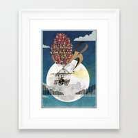brompton Framed Art Prints featuring Flying Bicycle by Wyatt Design