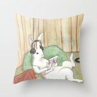 vinyl Throw Pillows featuring Vinyl by Bluedogrose