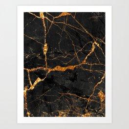 Black Malachite Marble With Gold Veins Art Print