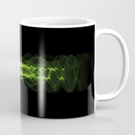 Plasma or high energy force concept. Green glowing energy waves on black Coffee Mug
